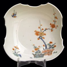 A Japanese Kakiemon Porcelain Bowl, Late 17th Century. Decorated Over a Nigoshide (milky white) Body with Prunus (Plum), Bamboo and `Banded Hedges`. The Potting of this Kakiemon Bowl is Very Thin.