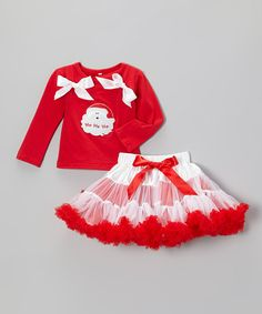 Santa's little helpers will be party-ready in this joyful ensemble. Tons of ruffles will have girls looking fun and festive and an elastic waistband ensures a comfy fit while dancing or playing.Includes top and pettiskirtTop: 100% cottonPettiskirt: 100% nylon chiffonHand wash; hang dryImported