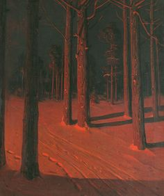 Sven Svendsen (Norwegian/American, 1864-1934), Tree Trunks in Snow. Oil on canvas, 32 x 24 in.