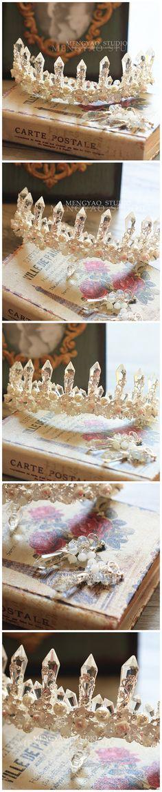 Ручной керамические цветок принцесса серьги корона невесты свадьба кристалл свадебный головной убор студия камеры с аксессуарами - Taobao