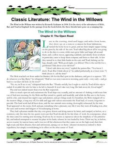Classic Literature Worksheet - The Wind in the Willows
