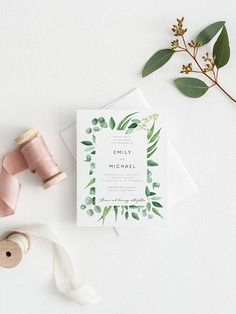 Greenery Wedding Invitation Template Eucalyptus Printable