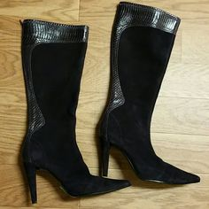 LORD AND TAYLOR FLEX BOOTS Lord and Taylor dark purple suede and leather high leg quality made boots. Zipper back, top leg of boots 15 inches wide. Lord & Taylor Shoes Heeled Boots