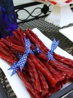 Licorice at a USA 4th of July Party!  See more party ideas at CatchMyParty.com!