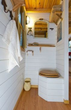 Three composting toilets in separate stalls with curtains Tiny House Living, Small Living, Cozy House, Grand Chalet, Tumbleweed Tiny Homes, Outdoor Toilet, Tiny Houses For Rent, Outdoor Bathrooms, Composting Toilet