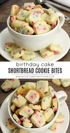 Birthday Cake Shortbread Cookie Bites are bite size cookies filled with rainbow sprinkles. They are tender, buttery, and taste like birthday cake. Shortbread Cookies, Cookies Et Biscuits, Yummy Cookies, Yummy Treats, Sweet Treats, Yummy Food, Sugar Cookies, Funfetti Cookies, Sprinkle Cookies