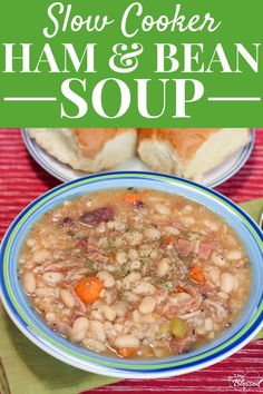 Let your slow cooker do the work to make this flavorful ham & bean soup recipe using a ham bone, white beans, and veggies. A deliciously simple healthy meal! #slowcooker #healthyrecipe #hamsoup #healthysoup