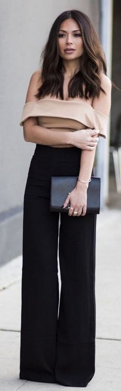 Loving this off-the-shoulder top with the wide leg trousers.