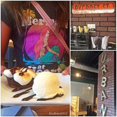 """Urban Bistro - Honolulu, HI, United States. Urban has delicious desserts. Christa's Mini-me """"mermaid at heart"""" models the S'mores Pie - thumbs up from Mini!"""