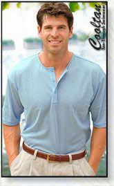 c8f70a1eca55c2 Ocean blue collar-less tan through sport shirt prevents the farmer s tan.  No more tan lines.