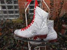 60s CCM Leather Ice Skates with Hand Drawn by MDMvintage on Etsy, $96.00