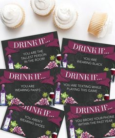 """Get the party started with this fun """"Drink If"""" wine game. Pour your favorite glass of red or white, edit your game instructions and print as many as you need! Wine Tasting Party, Wine Parties, 21st Birthday Games, Funny Birthday, Birthday Ideas, Fun Classroom Games, Wine Games, Hen Party Games, Wedding Program Fans"""
