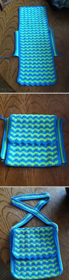 Ripple Bag, free pattern by Michelle Maks for Red Heart.  Pic from Ravelry Project Gallery.    . . . .   ღTrish W ~ http://www.pinterest.com/trishw/  . . . .   #crochet #purse #tote