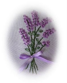 Lavender in SRE - tutorial  Ribbon embroidery
