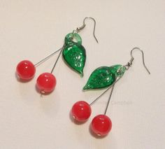 71b79a9adeef Glass Cherries Earrings by TheSterlingCat on Etsy