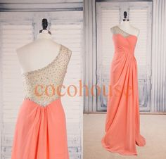 One Shoulder Coral Beaded Long Prom Dresses Bridesmaid Dresses Hot Homecoming Dresses Evening Dresses Wedding Party Dresses Formal Dresses