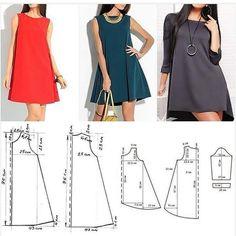 Midi dress for Woman. Dress Sewing Patterns, Sewing Patterns Free, Clothing Patterns, Fashion Sewing, Diy Fashion, Ideias Fashion, Circle Skirt Pattern, Pants Pattern, Costura Fashion