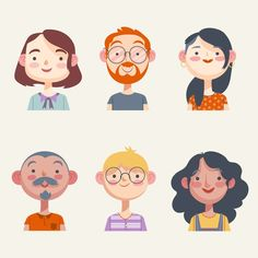 Illustration pack of people avatars Free. Character Design Animation, Character Drawing, Character Flat Design, Character Sketches, Flat Design Illustration, Graphic Illustration, Cartoon Illustrations, Cartoon Drawings, Cartoon Art Styles