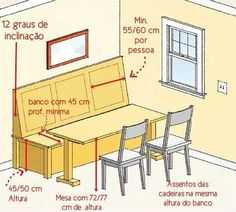Dining nook with bench measurements. Optimized dining and quality time requires nook dimensions built for comfort. Optimized dining and quality time requires nook dimensions built for comfort. Via This Old House. Banquette Design, Banquette Seating, Booth Seating, Bar Seating, Kitchen Seating, Kitchen Benches, Kitchen Banquette Ideas, Built In Dining Room Seating, Dining Room Bench