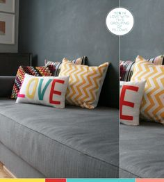 grey couch + colourful cushions