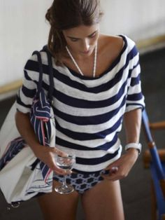 blue + white beach look fashion style stripes Fashion Mode, Look Fashion, Curvy Fashion, Fall Fashion, Fashion Tips, Fashion Trends, Looks Style, Style Me, Style Blog
