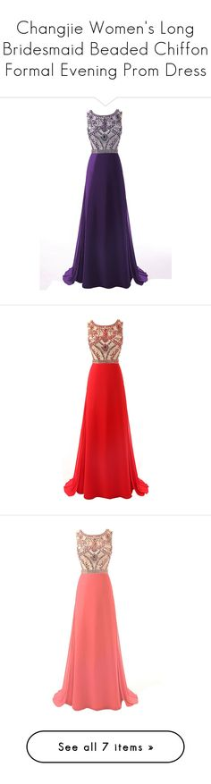 """""""Changjie Women's Long Bridesmaid Beaded Chiffon Formal Evening Prom Dress"""" by qwertyuiop-sparta ❤ liked on Polyvore featuring dresses, long cocktail dresses, long white dress, long bridesmaid dresses, white chiffon dress, bridesmaid dresses, gowns, long dress, red bridesmaid dresses and red dress"""