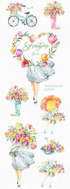 New Ideas Wedding Invitations Illustration Graphics Illustration Blume, Illustration Girl, Watercolor Illustration, Girl Illustrations, Watercolor Flowers, Watercolor Art, Drawing Flowers, Painting Flowers, Watercolor Wedding