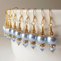 Bridesmaid Jewelry Light Blue Pearl Earrings by FiveLittleGems, $14.00