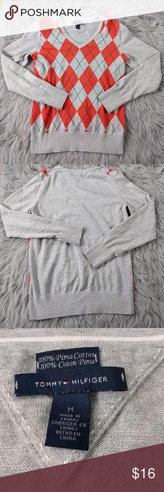 "Tommy Hilfiger Argyle Sweater Tommy Hilfiger Argyle Sweater  Size Medium in GUC  100% Pima Cotton  Armpit to armpit 21""  Shoulder to hem 24""  Sleeve length 25"" Tommy Hilfiger Sweaters V-Necks"