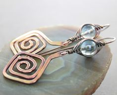 Artisan Greek spirals copper earrings with by IngoDesign on Etsy, $29.00