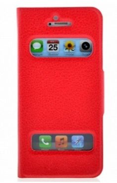 FLIP LEATHER CASE FOR IPHONE 5 - RED