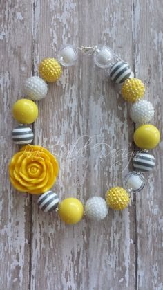 Yellow White & Gray Chunky Bead Necklace with by PinkLabelDesign, $20.00