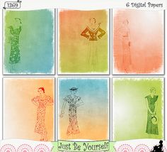 "Shabby vintage 1930's ladies fashions are featured on these printable art papers featuring distressed digitally painted ombre backgrounds. Instant download collection of 6 - 8.5"" x 11"" papers in blue, green, orange and white. (1369) $2.50 includes 6 JPEGs and PDF"