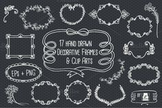 Check out Chalkboard Frame Vector Clip Arts by JSquarePresents on Creative Market