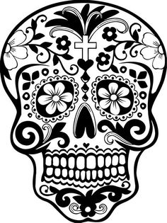 """Sugar Skull #1 """"Día de los muertos""""; We used it as a Coloring Page.  But it's a Great Transfer Pattern Too"""". You can also use these for projects with Textile Markers or Paint. ✏ Sugar Skull """"Día de los muertos"""" Template/ Stencil/ Silhouette."""