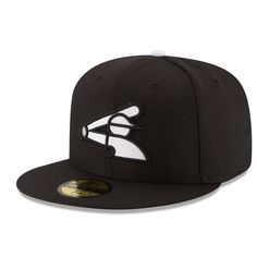 77e8019ad0430 Men s Chicago White Sox New Era Black Game Diamond Era 59FIFTY Fitted Hat