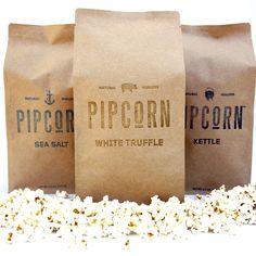 Pipcorn in Sea Salt, Kettle Corn, and White Truffle varieties Popcorn Packaging, Cool Packaging, Retail Packaging, Brand Packaging, Packaging Ideas, Truffle Popcorn, Paper Stand, Kettle Corn, White Truffle