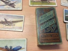 Old woodbine cigarette packet with aeroplane cards