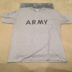 Grey Army T-Shirt Great Condition | Used | No Signs of Wear | Short Sleeve | Lightweight | Grey Color | Dark Grey Army on Front | Dark Grey Army Logo on Back | 100% Polyester | Trades | Feel Free to Ask Questions| More  Upon Request | Bundles & Offers are Welcomed❤️| Tops Tees - Short Sleeve