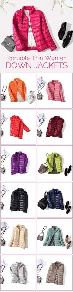 Casual Soft Zipper Fly Women Down Jackets