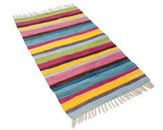 Puuvilla räsymatto värikäs Striped Rug, Beach Mat, Projects To Try, Interior Decorating, Outdoor Blanket, Weaving, Rag Rugs, Ottomans, Kids Rooms
