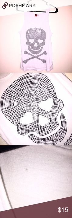 Rhinestone Skull Tank Rhinestone skull tank. Gently used. Not missing any rhinestones. One tiny hole on back (as pictured.) ⚡️Super Fast Shipping 🚫 Trades 👍🏼 Accepting Offers H&M Tops Tank Tops