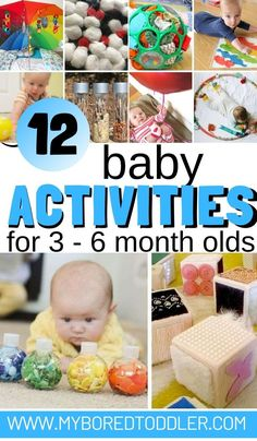 baby toys 12 baby activities for 3 - 6 month olds - fun activity ideas to do at home with a baby aged 3 months, 4 months, 5 months or 6 months - easy baby play ideas and activiies for babies under 6 months old 6 Month Baby Activities, Montessori Activities, Infant Activities, Activities For Kids, Activity Ideas, Activities For Babies Under One, Crafts For Babies, Baby Activites, Montessori Baby