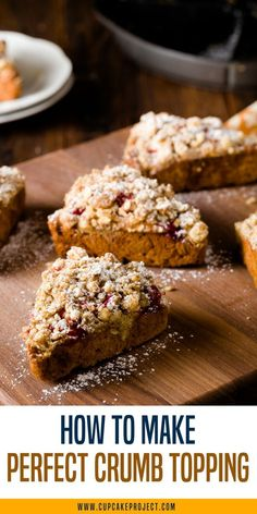 Easy crumble toppings recipe for just any dessert- pie, muffins, cakes and more! It's the perfect crumb topping recipe that uses oats to  help give the crumbs more texture and structure and make them extra satisfying and crunchy! For more simple baking de