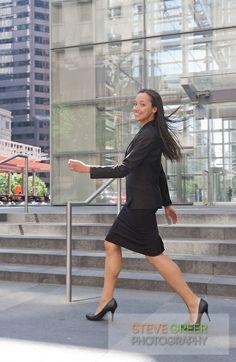 Woman Walking Down the Street | Woman Walking Down City Street Young business woman walking