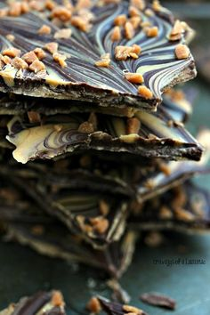 Peanut Butter and Chocolate Bark | This easy to make Chocolate and Peanut Butter Bark is a real crowd pleaser. The chocolates are marbled together then topped with Skor Bits.