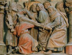 This is a gothic sculpture in a cathedral in Germany. The sculpture depicting the time when Judas betrayed Jesus in the garden of Eden. The Betrayal of Judas, 1230, Naumburg Cathedral.