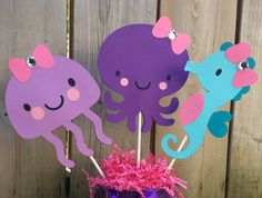 Items similar to Under the Sea centerpiece - Beach Party - Baby Shower decoration - Birthday Decoration - Octopus Jelly Fish Seahorse - set of 3 centerpiece on Etsy Beach Baby Showers, Mermaid Baby Showers, Baby Mermaid, Mermaid Birthday, Baby Birthday, 1st Birthday Parties, Baby Shower Parties, Birthday Ideas, Birthday Decorations