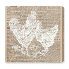 'Chicken and Hen Newspaper' Graphic Art Print on Canvas