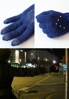 The Early Winter Night Biking Gloves ::  consist of knitted wool gloves having conductive areas on each fingertip as well as on the palm of the hand. When forming a fist they close an electric circle, causing the LED-arrow at the back of the hand to light up. A 3V coin cell battery needed to power the LEDs is hidden in the cuff of the gloves.